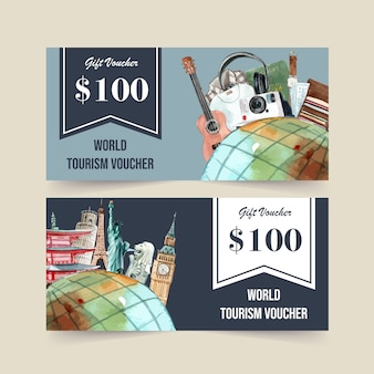 Tourism voucher design with clothes and landmark of japan, london, france.