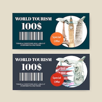 Tourism voucher design with eifel tower, clock tower, leaning tower of pisa