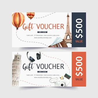 Tourism voucher design with eifel tower, leaning tower of pisa.