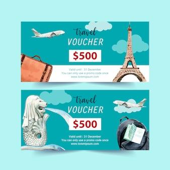 Дизайн туристического ваучера с эйфелевой башней, мерлионом, самолетом и рюкзаком.