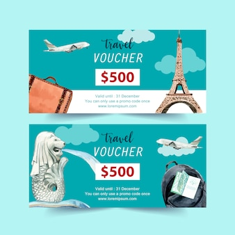 Tourism voucher design with eifel tower, merlion, plane and backpack.