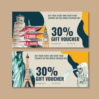Tourism voucher design with leaning tower of pisa, clock tower, merlion.