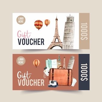 Tourism voucher design with leaning tower of pisa, eifel tower.
