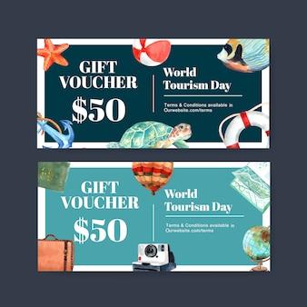Tourism voucher design with turtle, fish, balloon, globe, bag.