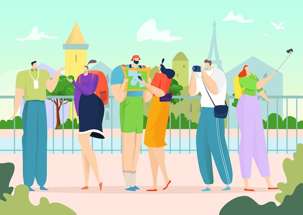 Tourism with guide illustration