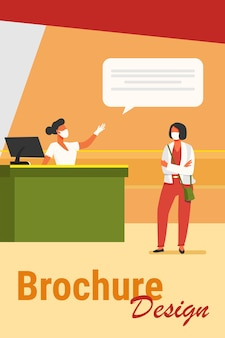Tourist and airport employee wearing face mask. women talking at check in desk flat vector illustration. social distance, travel concept