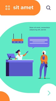 Tourist and airport employee wearing face mask. women talking at check in desk flat vector illustration