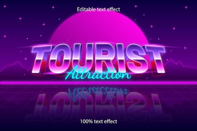 관광 명소 편집 가능한 텍스트 효과 복고 스타일