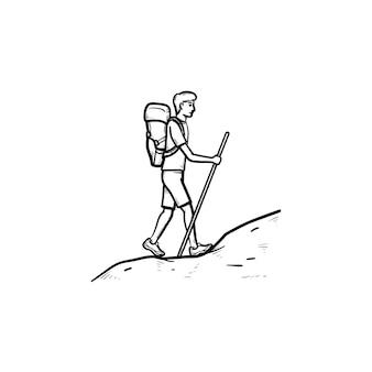 관광 백 패커 등반 손으로 그린 개요 낙서 아이콘. 등산객과 탐험가, 여행 및 배낭 개념. 인쇄, 웹, 모바일 및 흰색 배경에 인포 그래픽에 대한 벡터 스케치 그림.