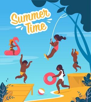 Tourist banner is written summer time cartoon