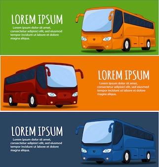 관광 버스 배너. 시내 버스. 버스 아이콘. 큰 투어 버스 그림. 코치 버스의 그림입니다.
