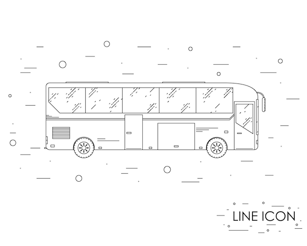 観光バス。線形スタイル。アイコン観光バス。バスでの旅。側面図。公共交通機関。ベクトルイラスト。