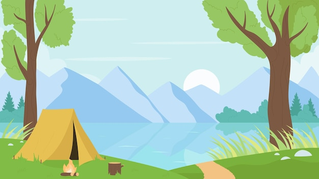 Tourist camp by river or lake nature landscape vector illustration. cartoon mountain natural calm scenery with campsite tent among summer trees, bonfire.