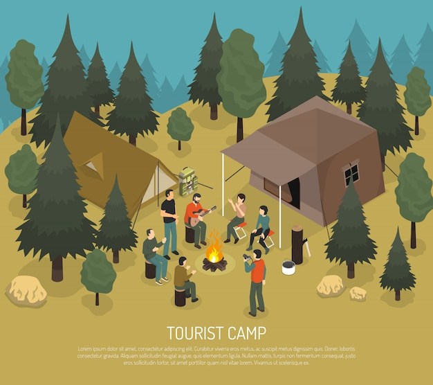 Tourist camp isometric illustration