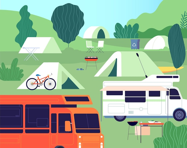 Tourist camp. sunny forest tree camping, outdoor restfulness. tourism tools, summer rest tents, cars and bonfire. nature vector background. forest recreation, adventure camp, journey illustration