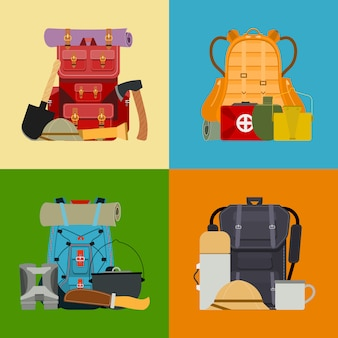 Tourist camping backpack banner, card. travel accessories illustration. classic styled hiking backpacks with sleeping bags. camp and hike colorful bags and knapsacks.