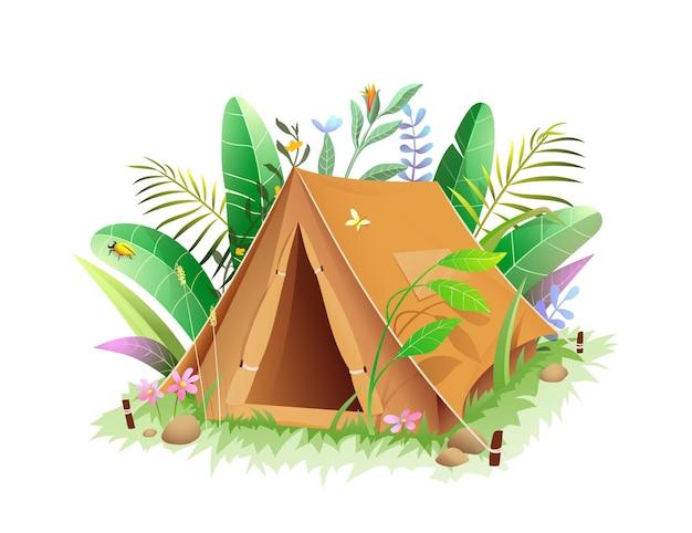 정글이나 숲이 우거진 녹색 잎에 있는 관광 캠핑 텐트.