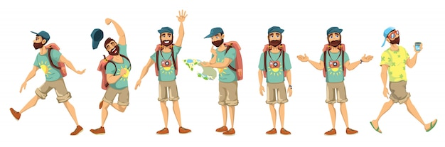 Tourist character  illustration set