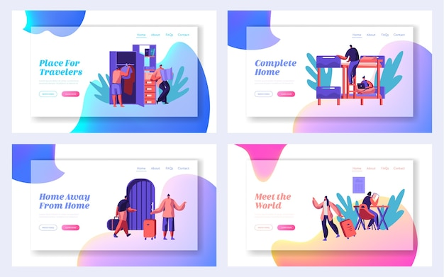 Tourist character with bag arrive to hostel building landing page set. international travel concept website or web page. people booking hotel for holiday flat cartoon vector illustration