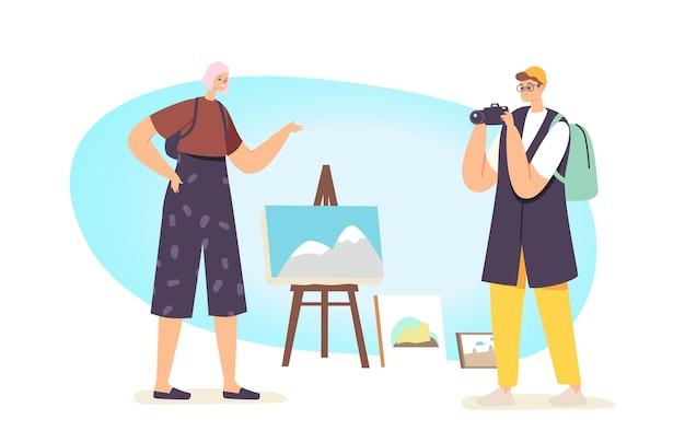 Туристические персонажи, наслаждающиеся стрит-артом, фотографируя красивые горы, стоят на мольберте
