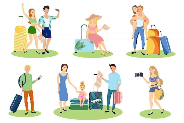 Tourist characters set
