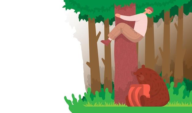 관광객은 배낭을 메고 앉아 있는 곰 동물에게서 나무를 올랐습니다. 라이프스타일 컨셉의 야외 활동