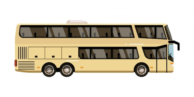 観光コーチ。 2階建て観光コーチアイコンを白い背景に分離します。旅客バス市内車両イラスト