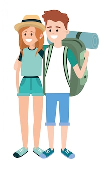 Tourist couple cartoons