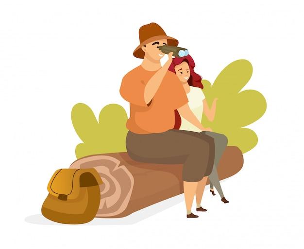 Tourist couple  color  illustration.