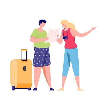Семейная туристическая пара путешествует с рюкзаками, сумками, чемоданами. и камера. иллюстрация летнего туристического персонажа женщины и мужчины