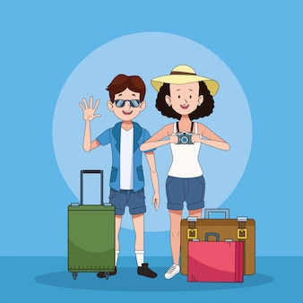 Tourist couple with suitcases characters
