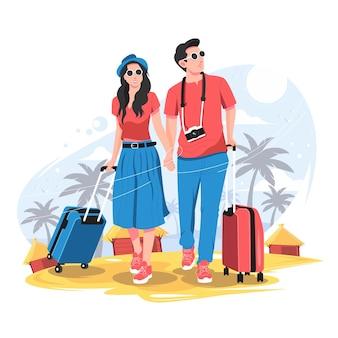 トラベルバッグのイラストと観光カップル