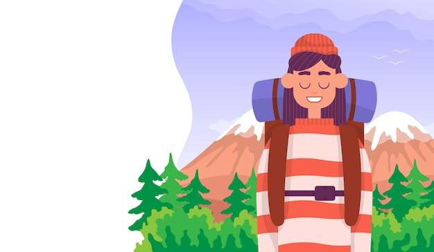 観光客は山で彼の旅行を楽しんでいます屋外ハイキングのコンセプト正面図カラー漫画フラット