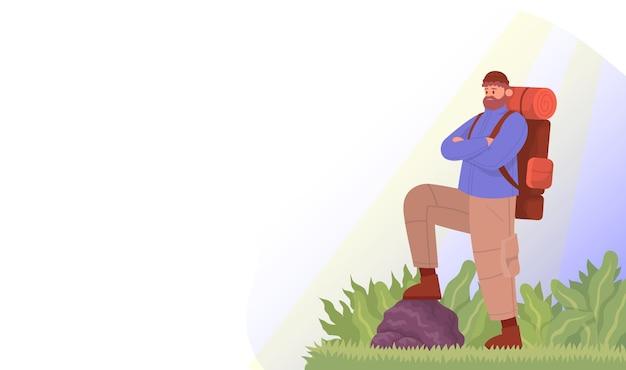 観光客は山で彼の旅行を楽しんでいます屋外ハイキングのコンセプトカラー漫画フラットベクトル