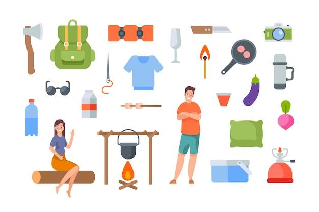 흰색 바탕에 관광 장비 및 하이킹 액세서리. 야외 모험을 위한 캠핑 요소 키트. 흰색 바탕에 평면 벡터 아이콘 모음입니다. 캠프파이어, 냄비, 배낭, 티셔츠, 카메라
