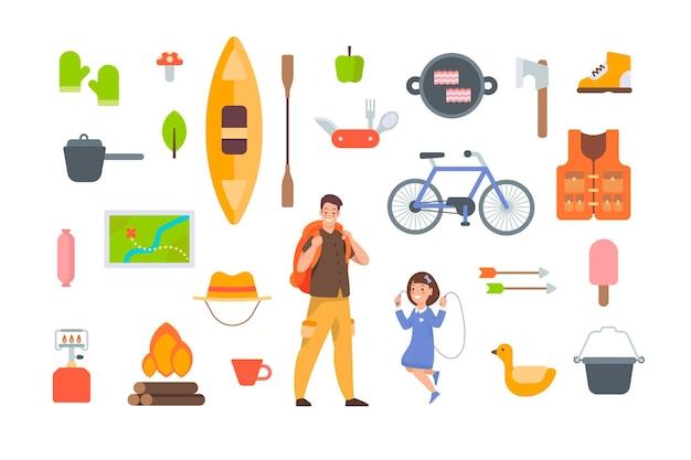 흰색 바탕에 관광 장비 및 하이킹 액세서리. 야외 모험을 위한 캠핑 요소 키트. 흰색 바탕에 평면 벡터 아이콘 모음입니다. 카약, 지도, 자전거, 캠프파이어, 구명조끼