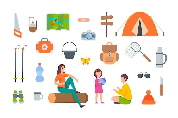 흰색 바탕에 관광 장비 및 하이킹 액세서리. 야외 모험을 위한 캠핑 요소 키트. 흰색 바탕에 평면 벡터 아이콘 모음입니다. 텐트, 배낭, 지도, 응급처치, 쌍안경