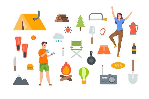 흰색 바탕에 관광 장비 및 하이킹 액세서리. 야외 모험을 위한 캠핑 요소 키트. 흰색 바탕에 평면 벡터 아이콘 모음입니다. 텐트, 장작, 라디오, 접이식 의자, 음식