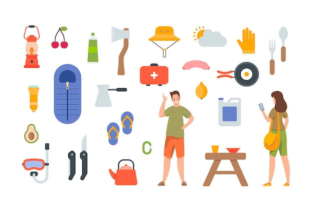 Tourist equipment and hiking accessories on white background. camping elements kit for outdoor adventure. flat vector icons collection on white background. sleeping bag, axe, oil lamp, first aid
