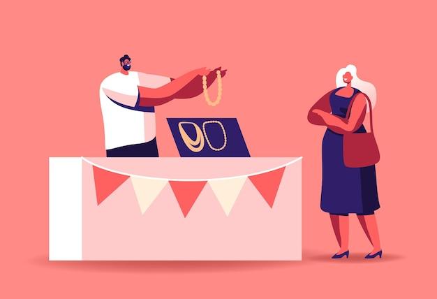 観光客の女性キャラクターは、市場でジュエリーを選択します。マンセラーはマーケットブースで琥珀製のビーズを持ち、宝石や手作りの工芸品で作られたジュエリーやネックレスを販売しています。漫画の人々のベクトル図 Premiumベクター