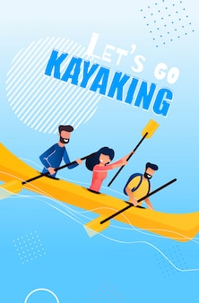 Tourist flyer is written lets go kayaking cartoon