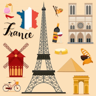 Tourist france travel set collection