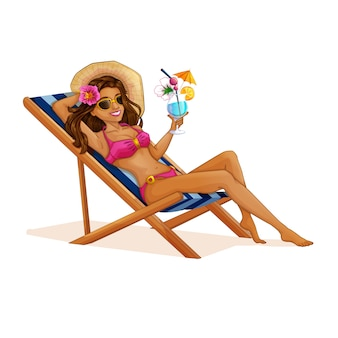 Tourist girl in a swimsuit sitting in a beach chair