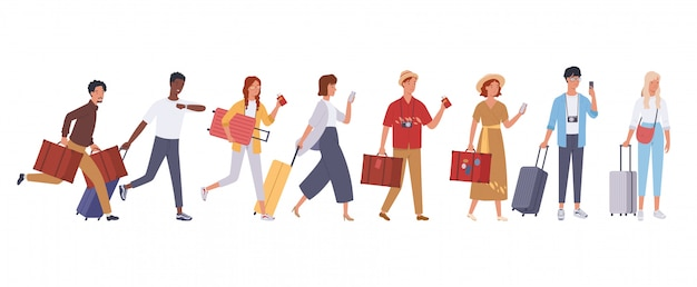 Tourist groups walking with luggage. illustration in a flat style