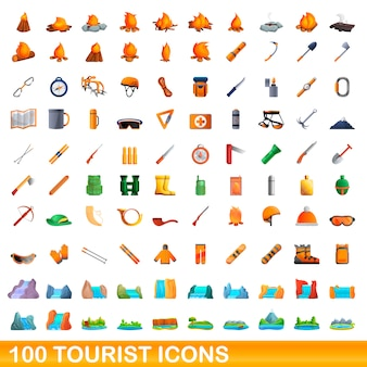 Tourist icons set, cartoon style