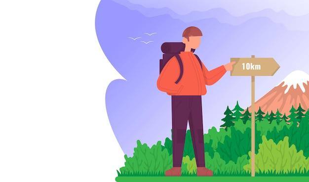 観光客は、屋外でハイキングするための道標の概念を見ていますカラー漫画フラットベクトル