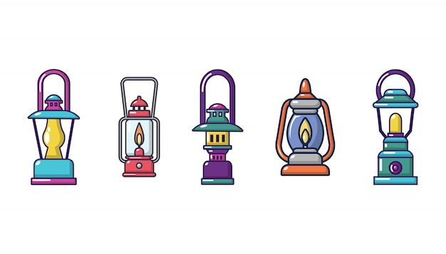 Tourist lamp icon set. cartoon set of tourist lamp vector icons set isolated