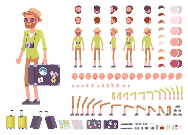 Tourist male character creation set