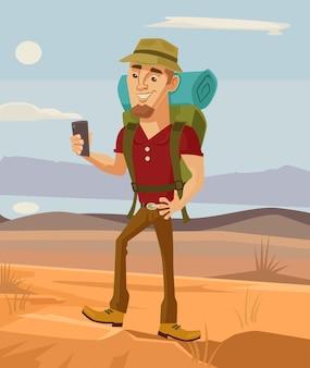 Tourist man character using smart phone