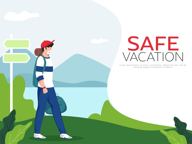 Tourist man wear protective mask and signboard on landscape nature background for safe vacation.